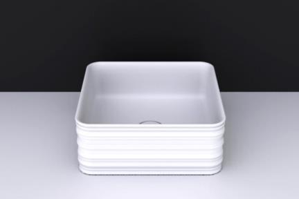 """כיור מונח לחדר אמבטיה b320-01. כיור מונח מרובע מדורג - לבן מבריק תוצרת VALDAMA איטליה.  גודל: 38*38  גובה: 15  מחיר: 819 ש""""ח"""