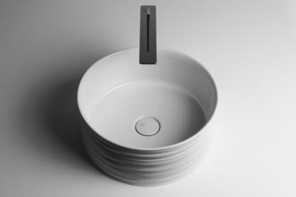"""כיור מונח לחדר אמבטיה B420-11. כיור מונח עגול מדורג- לבן מט תוצרת VALDAMA  איטליה.  קוטר:40.  גובה: 18  מחיר: 819 ש""""ח"""