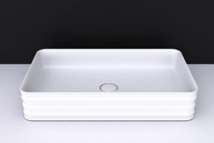 כיור מונח לחדר אמבטיה B620-11. כיור מדורג - לבן מט.  גודל: 38*65.  גובה:12