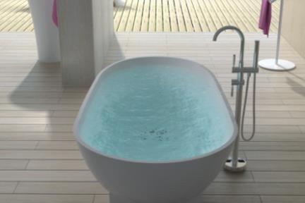 אמבטיה פרי סטנדינג BT1003. אמבטיה אובלית אבן מלאכותית מבריקה.  גודל: 90*179.  גובה: 52.