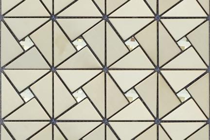 אריחי פסיפס לחיפוי קיר מנרוסטה 1003722. משולשי נירוסטה זהב +זכוכית.  גודל: 30*30.