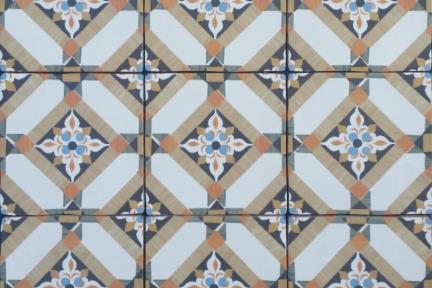 אריחי וינטג' לחיפוי קיר בסגנון עתיק 1005972. דקור ענתיקה גאומטרי חום.  גודל: 15*15.
