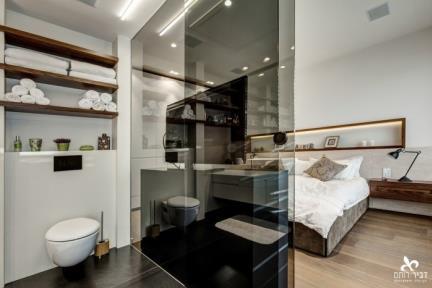 חדר הורים. יחידת הורים עם חדר רחצה בוטיקי   תכנון ועיצוב: ליאת דביר-רותם.  צילום: ניצן הפנר.