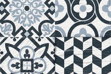 אריחי ריצוף וינטג' סדרת Toledo 1242. דקור ענתיקה שחור-אפור-לבן.  גודל: 33*33 מחולק ל4.