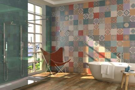 אריחי וינטג' לחיפוי קיר בסגנון עתיק 1005976. דקור מעורב לקיר.  גודל: 40*.20