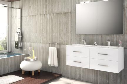 ארונות אמבטיה לאחסון  6300. גודל: 46*120  ארון לבן 4 מגירות + כיור רזינה B6262