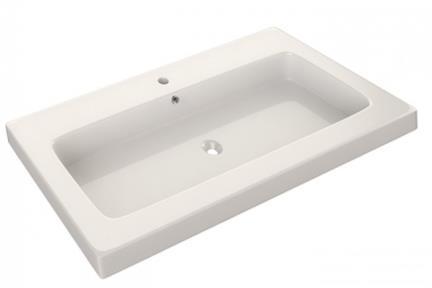 """כיור אמבטיה אקרילי B6066. גודל: 46/60  כיור רזינה לבן, עובי 6.5 ס""""מ, מתאים לארון 6060"""