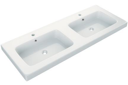 """כיור אמבטיה אקרילי B6266. גודל: 46*121  כיור רזינה כפול לבן , עובי 6.5 ס""""מ"""