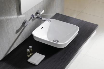 כיור מונח לחדר אמבטיה B422. כיור מונח מרובע חצי בפנים.  גודל: 42*42