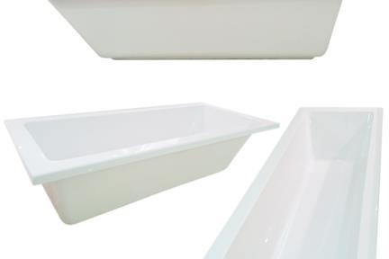 אמבט בעיצוב מודרני BT1702. גודל: 75/170  אמבטיה נקיה ישרה לבנה