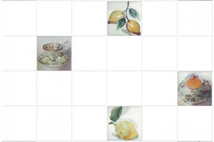 """חיפוי קרמיקה למטבח אריחים בגודל 10 על 10 ס""""מ  C10-01. דקור מעורב: כוס תה, לימונים.  עם רקע 1012946, ללא פאזה.  גודל: 10*10"""