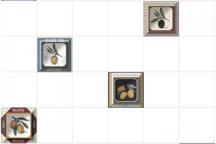 """חיפוי קרמיקה למטבח אריחים בגודל 10 על 10 ס""""מ  C10-12. דקור זיתים מעורב בתוך ריבוע.  עם רקע 1012946, ללא פאזה.  גודל: 10*10"""