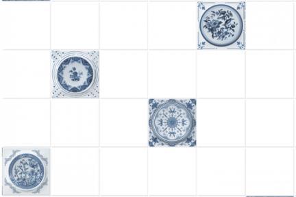 """חיפוי קרמיקה למטבח אריחים בגודל 10 על 10 ס""""מ  C10-13. דקור מעורב ענתיקה כחול.  עם רקע 1012946, ללא פאזה.  גודל: 10*10"""