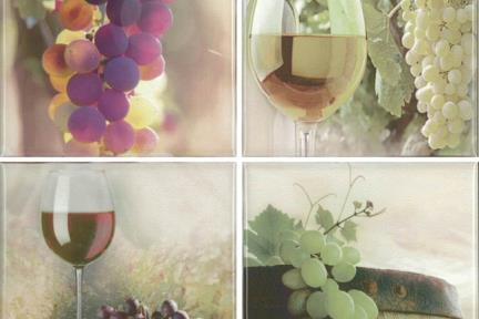 """חיפוי קרמיקה למטבח אריחים בגודל 10 על 10 ס""""מ  C10-02. דקור מעורב: ענבים, כוס יין.  עם רקע 1012944.  גודל: 10*10"""