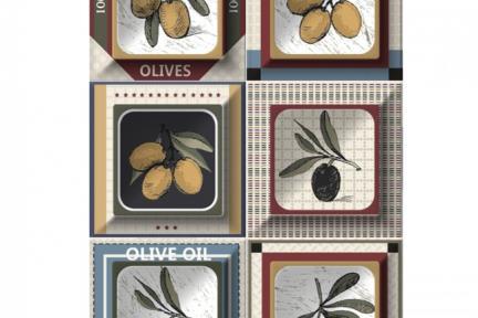 """חיפוי קרמיקה למטבח אריחים בגודל 10 על 10 ס""""מ  C10-12. דקור זיתים מעורב בתוך ריבוע.  עם רקע 1012944.  גודל: 10*10"""