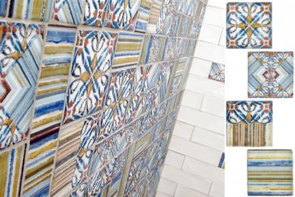 אריחי וינטג' לחיפוי קיר מסדרת Toscana 15080-4. דקור וינטג כחול.  מעורב 6 סוגים.  גודל: 15*15.