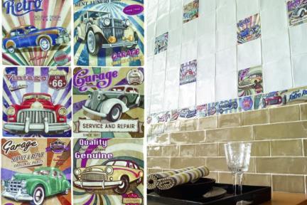 אריחי וינטג' לחיפוי קיר מסדרת Toscana 15080-5. דקור מכוניות.  מעורב 6 סוגים.  גודל: 15*15.
