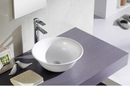 """כיור מונח לחדר אמבטיה B400-1. כיור קערה עגול מונח.  קוטר: 40 ס""""מ.  גובה: 15  ס""""מ."""
