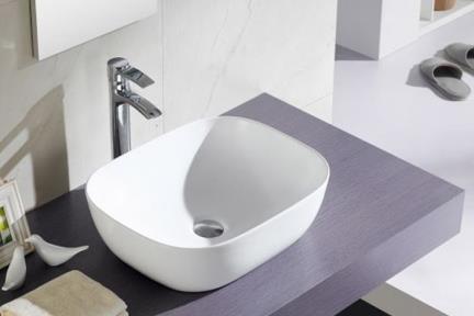 """כיור מונח לחדר אמבטיה B490-01. כיור קערה מונח.  גודל: 40*49  גובה: 14  ס""""מ."""
