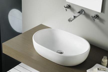 """כיור מונח לחדר אמבטיה B594-01. כיור אליפסי מונח.  גודל: 44*59.  גובה: 14 ס""""מ.  לא במלאי: לפי הזמנה - 6-7 שבועות"""