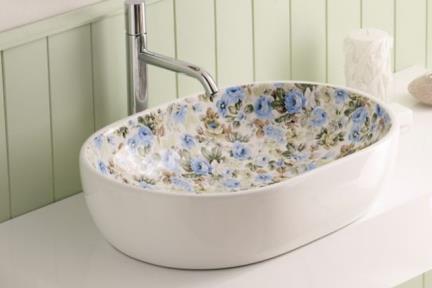 """כיור אמבטיה מצויר B594-20. כיור אליפסי מונח.  פרחוני - תכלת - בז'.  גודל: 41*59.  גובה: 14 ס""""מ"""
