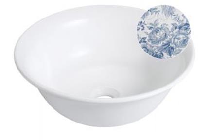 """כיור אמבטיה מצויר B400-06. כיור קערה עגול מונח - פרחוני כחול.  קוטר 40.  גובה: 15 ס""""מ."""