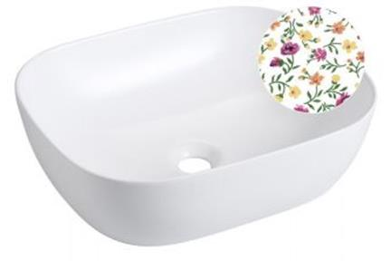 כיור אמבטיה מצויר B490-07. כיור מצוייר מונח