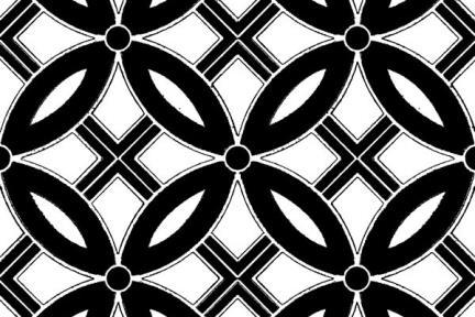 אריחי ריצוף וינטג' סדרת Cordova 1013116. פורצלן עלים שחור-לבן.  גודל: 20*20