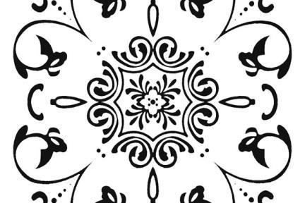 אריחי ריצוף וינטג' סדרת Cordova 1013117. פורצלן פרח + עלים שחור-לבן.  גודל: 20*20