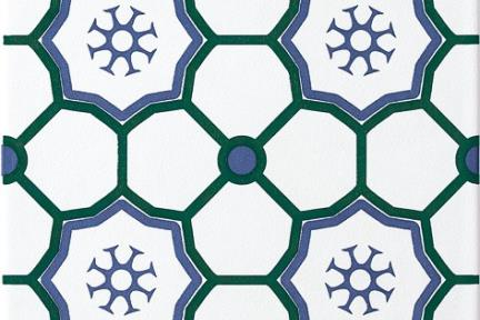 אריחי ריצוף וינטג' סדרת Cordova 1013120. כוורת לבן - כחול - ירוק.  גודל: 20*20