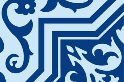 אריחי ריצוף וינטג' סדרת Cordova 1013125. פורצלן ענתיקה כחול - תכלת.  גודל: 20*20