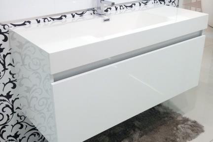 ארונות אמבטיה לאחסון  6282-1. ארון לבן 2 מגירות + כיור אקרילי  גודל: 50/120