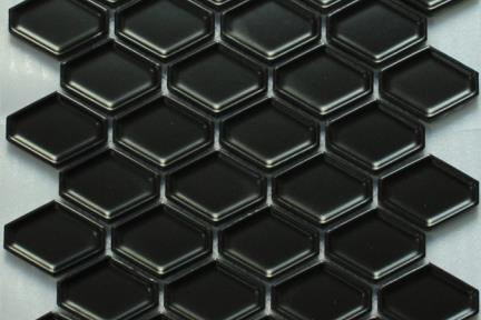 אריחי פסיפס לחיפוי קיר מקרמיקה 1013071. פסיפס פאזה פנימי.  צבע: שחור מט  גודל: 25.2*26.5