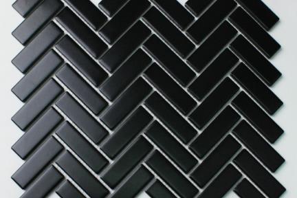 אריחי פסיפס לחיפוי קיר מקרמיקה 1013069. פסיפס פישבון.  צבע: שחור מט  גודל: 31*27.5