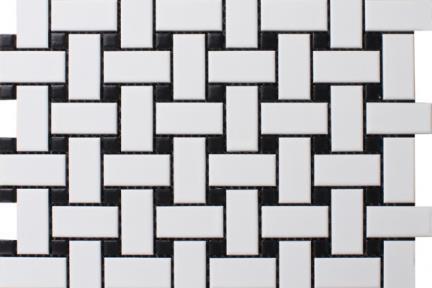 אריחי פסיפס לחיפוי קיר מקרמיקה 1013072. פסיפס שתי וערב.  לבן עם קוביות שחורות.  גודל: 30*30