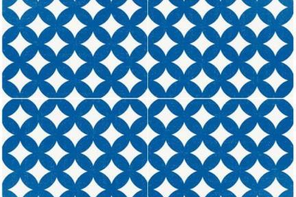 אריחי ריצוף וינטג' סדרת Cordova 1001187. קרמיקה מעויינים כחול-לבן.  גודל: 20*20.