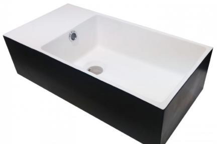 כיור רזינה לאמבטיה L485MT9. כיור שירותים.  עשוי מאבן מלאכותית.  צבע חוץ: שחור מט.  צבע פנים: לבן.  גודל:48*24  גובה: 13.5