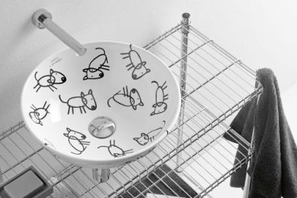 כיור אמבטיה מצויר B408-02. כיור גביע- ציורי כלבים  קוטר 40