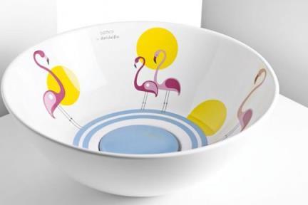 כיור אמבטיה מצויר B433-02. כיור גביע פלמנגו.  קוטר: 43