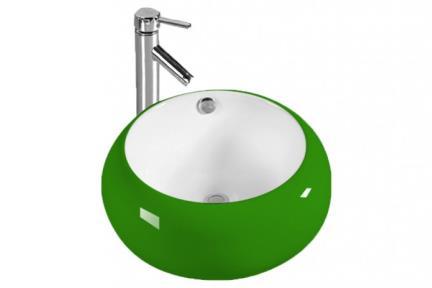 L420-6. כיור מונח עגול.  ירוק מבחוץ לבן מבפנים.  קוטר: 42.  גובה: 19.