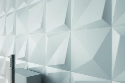 דגם 1001277. תלת מימד לבן מט - פרמידה.  גודל 25*25.