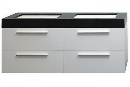 ארונות אמבטיה לאחסון  6138-17. ארון לבן + כיור אקרילי שחור-לבן