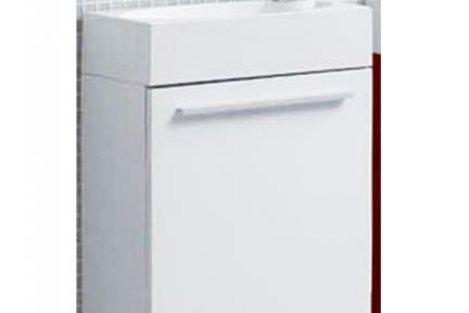 ארונות אמבטיה לאחסון  6460-1. ארון לבן לשירותים + כיור אקרילי.  גודל: 46*26  גובה: 52