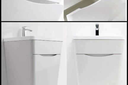 ארונות אמבטיה לאחסון  6650. ארון עומד לבן מט.  ציפוי PVC  מגירה אחת.  גודל: 65*52  גובה: 79