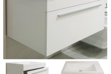 ארונות אמבטיה לאחסון  6750-1. ארון לבן מבריק + כיור אקרילי.  גודל: 50*75  גובה: 41