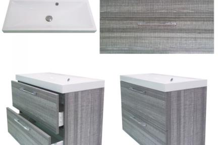 ארונות אמבטיה לאחסון  6802-15. ארון אפור מט + כיור אקרילי.  גודל: 80*40  גובה: 53