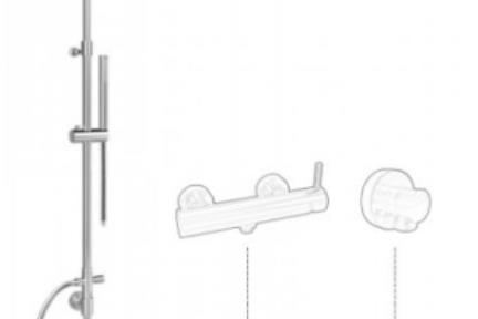 אביזרים לאמבטיה מוטות קומפלט למקלחת של Bongio 811ER. מוט+ראש טוש עגול +מזלף