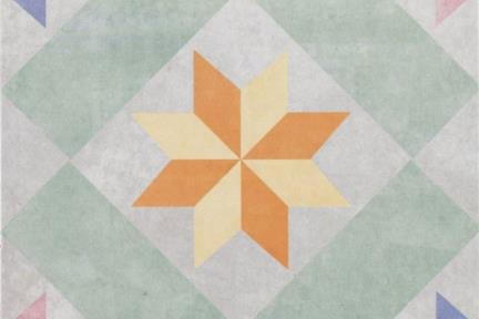 אריחי ריצוף וינטג' סדרת Toledo 1001419. ענתיקה צבעוני כוכבים. גודל: 25*25.