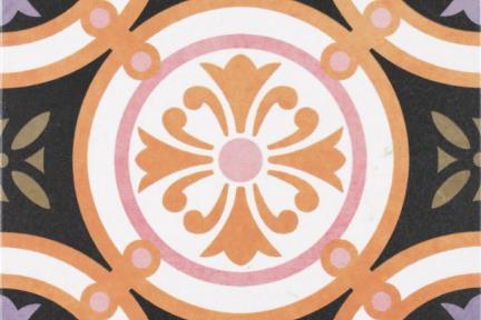 אריחי ריצוף וינטג' סדרת Toledo 1001420. ענתיקה עיגולים סגול-חום. גודל: 25*25.