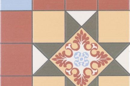 אריחי ריצוף וינטג' סדרת Toledo 1001423. גאומטרי בורדו-חרדל-זית. גודל: 25*25.